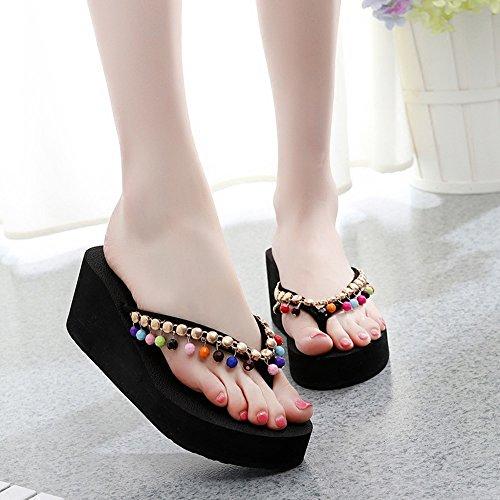 Sandals Feifei Summer Women's, Sweet Beaded Thick Bottom Clip Toe Slippers, Bohemia Non-Slip Comfortable Beach Shoe, Roman Shoes 7CM (Color : A, Size : EU38/UK5.5/CN38)