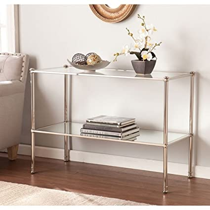 low priced 223fb 6c455 Southern Enterprises Paschall Glass Top Console Table in Silver