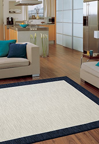 Mohawk Home Soho Brutti Framed Printed Area Rug, 5'x8', Tan and Blue