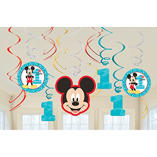 1st Birthday Mickey Mouse Swirl Decorations 12 count Party Supplies Mickey Fun to be One!