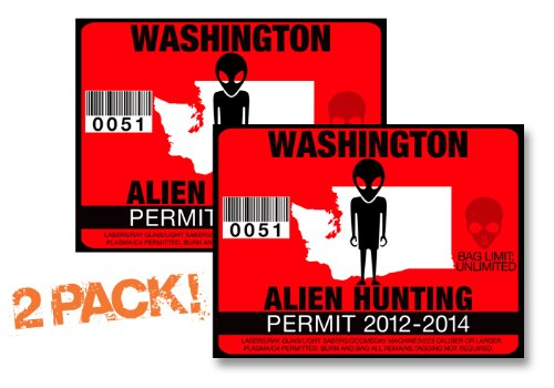 Washington-ALIEN HUNTING PERMIT LICENSE TAG DECAL TRUCK POLARIS RZR JEEP WRANGLER STICKER 2-PACK!-WA