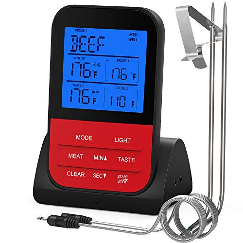 Luxear Wireless Remote Meat Thermometer Instant Read Digital Kitchen Cooking Thermometer with Large LCD Dual Probe Food Thermometer for Smoker Oven Kitchen Candy BBQ Grill 100 Feet Range (Meat Thermometer Remote)