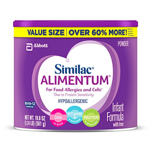 Similac Alimentum Hypoallergenic Baby Formula for Food Allergies and Colic, Value Size Powder, 19.8 Ounce (Pack of 4)