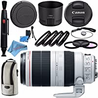 Canon EF 100-400mm f/4.5-5.6L IS II USM Lens 9524B002 + 77mm 3 Piece Filter Kit + 77mm Macro Close Up Kit + Lens Cleaning Kit + Fibercloth Bundle