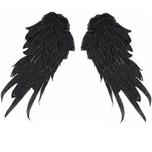 Shevalues Angel Wing Neckline Lace Trim Applique, Size 8, Black