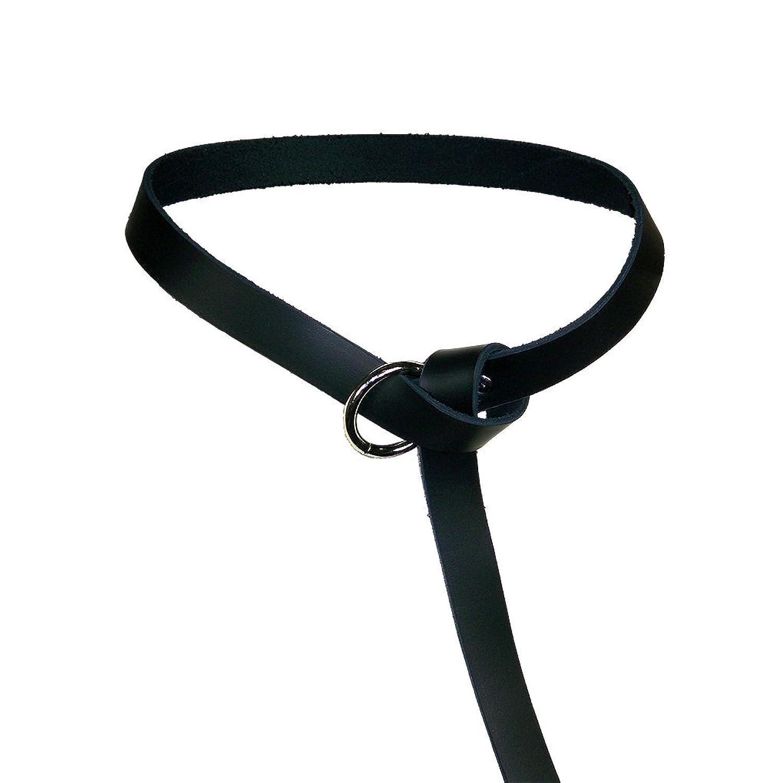 Women's Medieval Black Leather Ring Belt