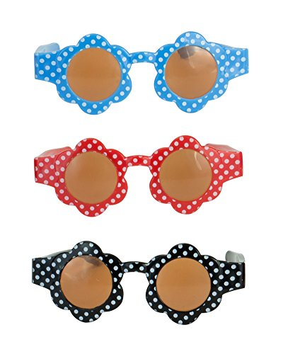 Sophia's Doll Sunglasses Pack of 3, Fits 18 Inch Girl Dolls or 15 Inch Baby Dolls | Polka Dot Flower Sunglasses in Blue, Red and Black ()