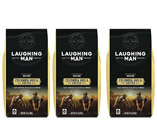 Laughing Man Coffee Colombia Huila Ground Coffee 12oz, pack of 1 (3 pack)