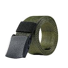 Nylon Belt Outdoor Men's Military Tactical Belt Casual Belt Plastic Automatic Buckle Webbing Belts (Army Green, Black)