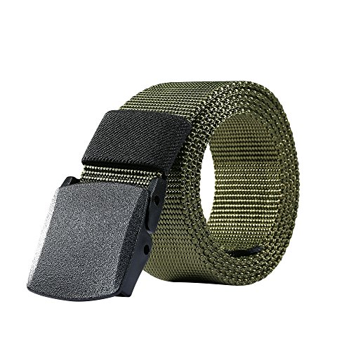 Nylon Belt Outdoor Men's Military Tactical Belt Casual Belt Plastic Automatic Buckle Webbing Belts (Army Green) (Metal Classic Belt)