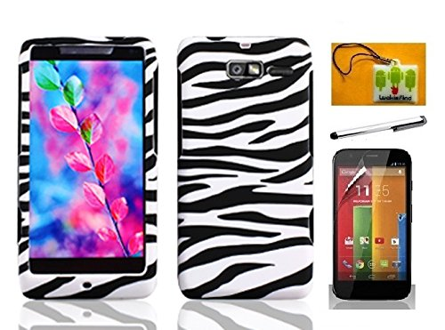 rd Case Cover, Stylus Pen, Screen Protector & Wiper For Verizon Motorola Droid Razr M XT907 Razr i XT890 (Designer Zebra) (Motorola Razr Snap Cases)