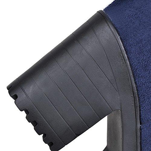 A & N Piattaforma Da Donna Piattaforma Colore Abbinata Stivali Con Fondo Tacco Blu Smerigliato Blu - 11 B (m) Noi