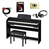 : Casio Privia PX-760BK 88 Key Keyboard Bundle with Headphones, padded seat, cloth, cable and Book
