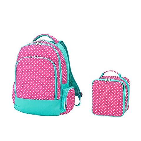 Reinforced Design Water Resistant Backpack and Lunch Bag Set (Pink Dottie) - Pink Kids Bag