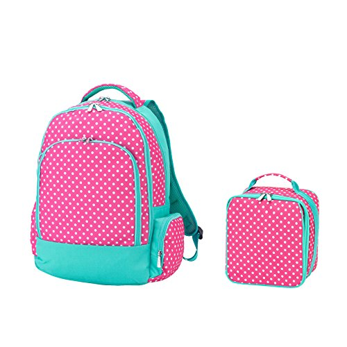 Reinforced Design Water Resistant Backpack and Lunch Bag Set (Pink Dottie)