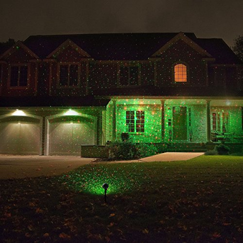 1byone Aluminum Alloy Outdoor Laser Christmas Light Projector with ...:1byone Aluminum Alloy Outdoor Laser Christmas Light Projector with IR  Wireless Remote, Red and Green Star Laser Show for Christmas, Holiday,  Parties, ...,Lighting