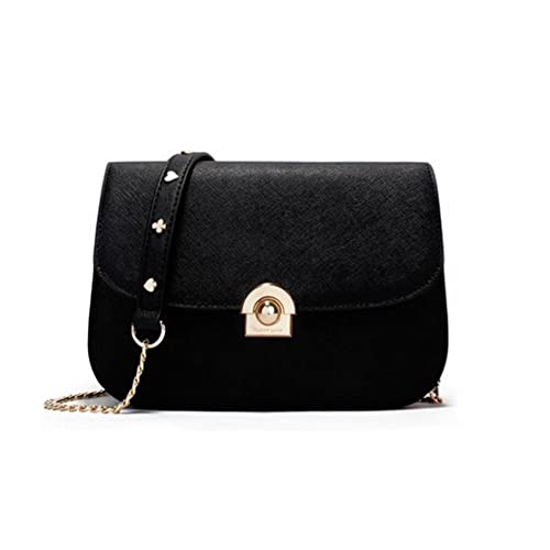 9f32f5a2ef07 JeHouze Fashion Women Genuine Leather Crossbody Handbag Gold Chain Metal  Strap Purse (Black)