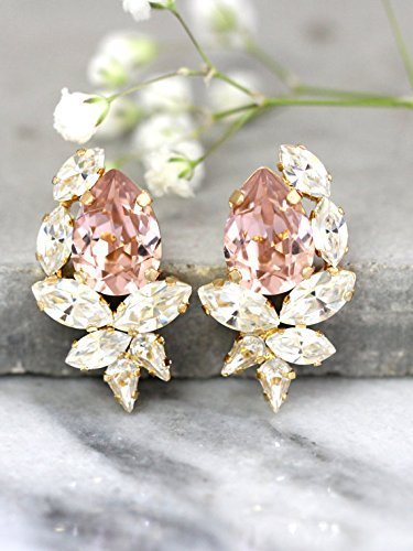 Morganite White Earrings - Bridal White and Blush Pink Cluster Earrings, Swarovski Crystal Bridesmaids Stud Gold Earrings, Handmade Wedding and Party Jewelry