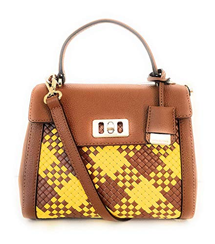 Satchel Slip Woven (Michael Kors Karson XS Mini Woven Top Handle Crossbody Satchel in Luggage)