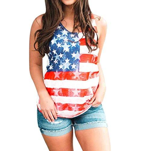 4th of July Women Shirts, USA Flag Print Sleeveless Cold Shoulder Tank Tops Summer Blouse US 6-14 (#01, US 12)