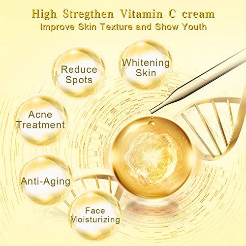 51JV7HSejDL - Face Moisturizer - Vitamin C Face Cream for Facial Whitening,Hydrating, Anti-Wrinkle & Fine Lines with Jojobal Oil,Coconut Oil, Cocoa Butter & Vitamin B5 Night Cream for Face (1.7oz)