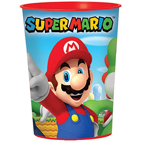 Amscan Swank Super Mario Brothers Plastic Cup Birthday Party Favors (1 Piece), 16 oz, Multicolor