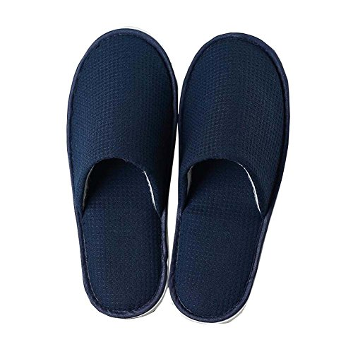 4 Pairs Blue Home Guest Slippers Disposable Hotel/Spa Salon Slippers by East Majik