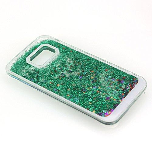AENMIL Galaxy S6 edge Glitter Case, Samsung S6 edge Bling Cover, 3D Bling Quicksand Glitters Stars Liquid Transparent Hard Back Case Cover for Samsung Galaxy S6 edge G9250 (Green)