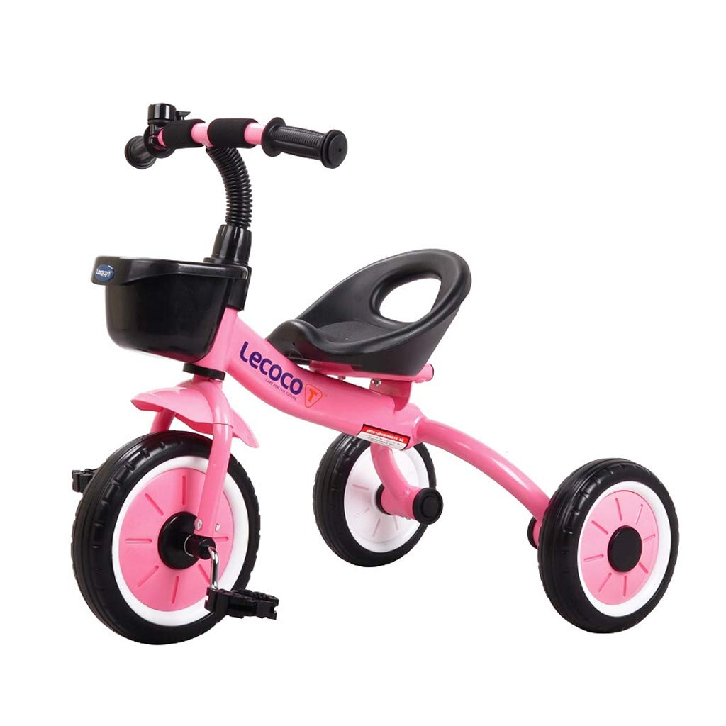 Zhijie-chezi 子供用三輪車 子供用ペダル 自転車 2-6歳 高炭素鋼 ベビーキャリッジ 男の子 女の子 おもちゃの車 ベル付き B07KVWYZ63  ピンク