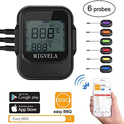 Barbacoa Termómetro Bluetooth con 6 termistores, Digital ...