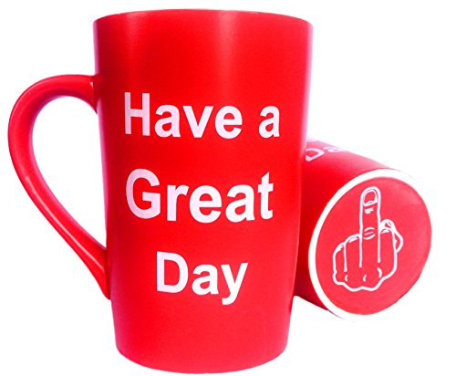 MAUAG Funny Christmas Gifts - Porcelain Coffee Mug Have a Great Day with Middle Finger on the Bottom Funny Ceramic Cup Red, Best Office Cup & Birthday Gag Gift, 13 (College Humor Halloween Ideas)