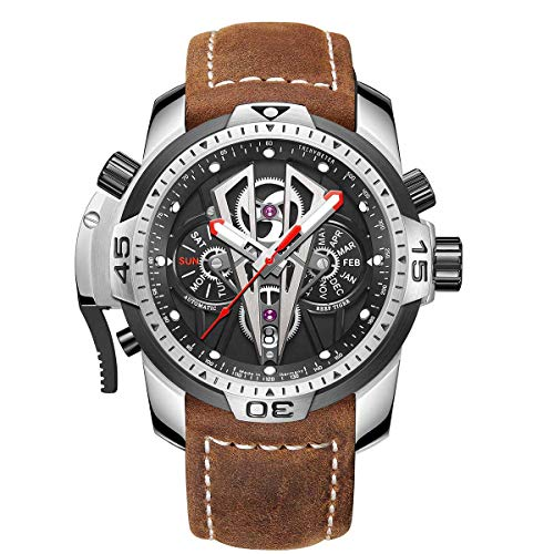 Reef Tiger Mens Sport Mechanical Watches with Steel Black Dial Automatic Watch Calfskin Leather Strap RGA3591