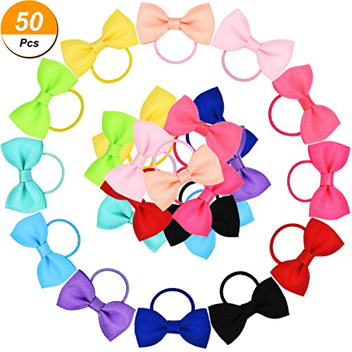 Price comparison product image Bememo 50 Pieces Baby Girls Bow Elastic Ties Ponytail Holders Tiny Soft Rubber Bands for Baby Kids