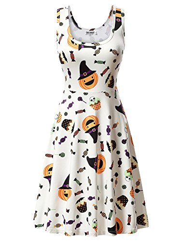 HUHOT Party Dress, Casual A Line Halloween Pumpkin Polka Dot Midi Tank Dress XX-Large 17039-7 -