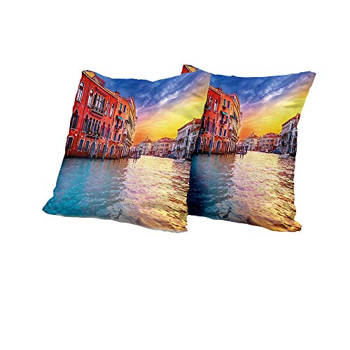 All of better futon Cushion Cover Italian,European Magical Venice Canal with Historical Buildings Famous Town Scenery,Blue and Orange Outdoor Pillow Covers 14x14 INCH 2pcs