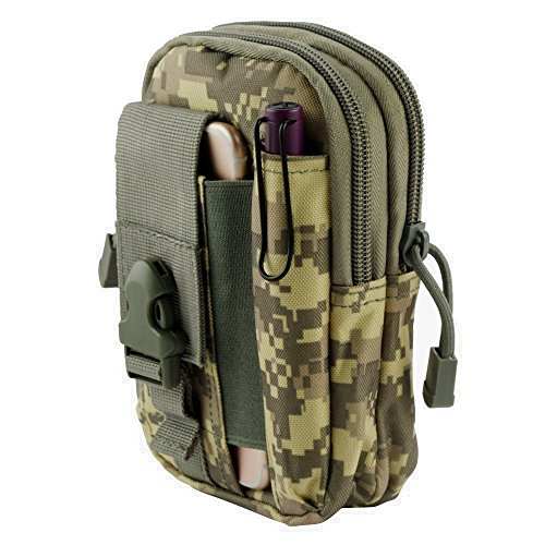 LG X Charge Pouch - Tactical EDC MOLLE Utility Gadget Holder Pack Belt Clip Waist Bag Phone Carrying Holster - (ACU Camo) and Atom Cloth for LG X Charge