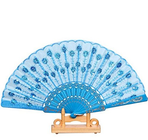 Blue Spanish Party Dance Folding Hand Fan Sequined