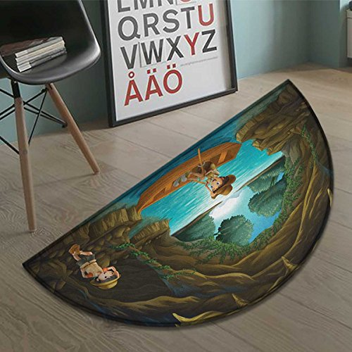 Bath Kids Row (homefeel Explore bath mats for floors Girl and Boy in a Cave with River and Rowboat Boy Scouts Cartoon Style Illustration door mat indoors Bathroom Mats Half Moon Non Slip Multicolor size:35.5
