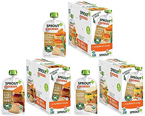 Sprout Organic Baby Food Pouches Stage 3 Meat Variety Pack, 4.0 Ounce (Pack of 18); Root Vegetables Apple with Beef, Creamy Vegetables with Chicken, Garden Vegetables Brown Rice with Turkey