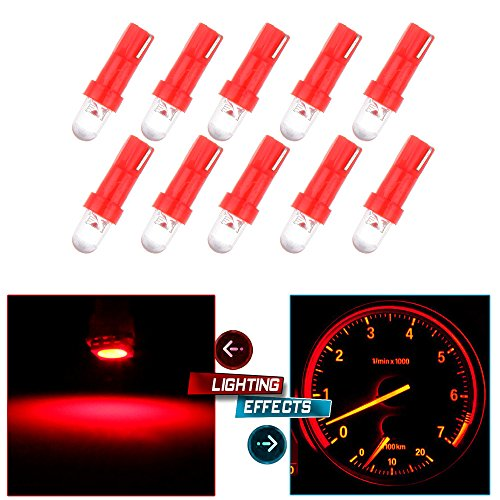 CCIYU 10 Pack Red T5 37 74 Wedge SMD Led Bulbs Instrument Cluster Light Panel Gauge Lamp Wedge Instrument Panel Dashboard Led Light Bulbs