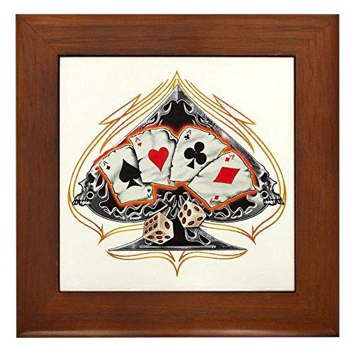 Framed Tile Four of a Kind Poker Spade ()