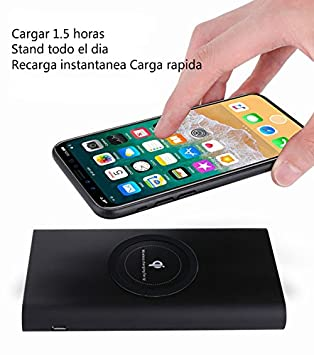 FUTURE ELECTRONIC Cargador Inalámbrico Power Bank, Qi Power Bank 10000mAh Batería Externa Apoyar Qi Carga para iPhone X,iPhone 8,Samsung Galaxy ...