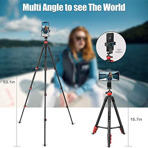 ZOMEi Trépied pour Smartphone, 135cm trépied de Voyage pour caméra Ajustable en Aluminium avec télécommande Bluetooth et Support de téléphone, pour la Photographie vidéos
