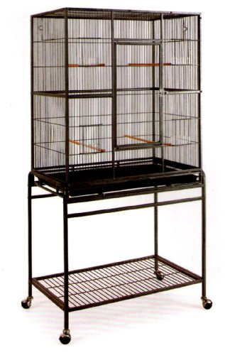 UPC 627837482887, Pet Products Large Wrought Iron Flight Cage with Stand #15 Black Bird Cage, 32-Inch by 19-Inch by 64-Inch by Mcage