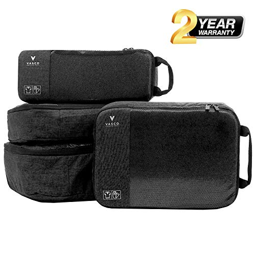 Packing Cube Leather - VASCO Packing Cubes for Travel - Sets of Premium Luggage Organizers (4 Set (S+2M+L) Black)
