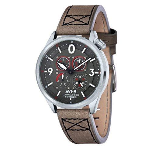 Multi Eye Stainless Steel Watch (AVI-8 Men's 'Lancaster Bomber' Quartz Stainless Steel and Leather Aviator Watch, Color:Grey (Model: AV-4050-03))