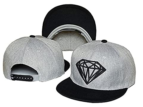 Men's Diamond Supply Co Snapback Adjustable Baseball Cap Hip hop Gray Black Hat - Nba Jazz Lamp