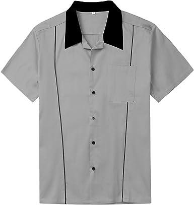 Amashz Rockabilly - Camisa de Bolos para Hombre, diseño Retro, Color Verde Menta - Gris - XX-Large: Amazon.es: Ropa y accesorios