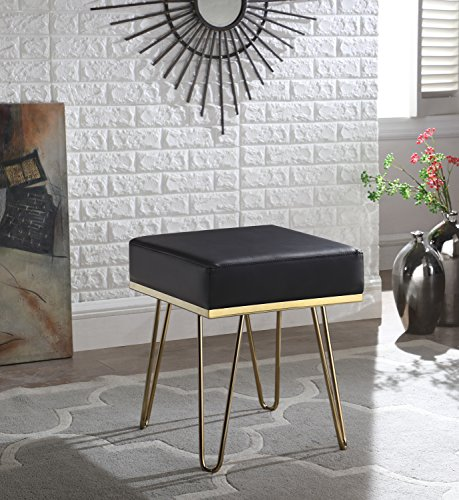 Iconic Home Caitlin Square Ottoman PU Leather Upholstered Brass Finished Frame Hairpin Legs, Contemporary Modern, Black (Pin Upholstered Hair)