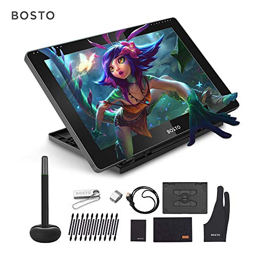 Drawing Tablet, BT-16HD Portable 15.6 Inch H-IPS LCD Drawing Tablet Display 8192 Pressure Level Passive Technology UKB…